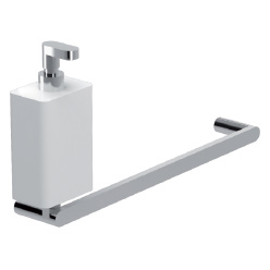 Wall mounted brass towel holder chrome with ceramic liquid soap dispenser,<br>AN: LV501501015