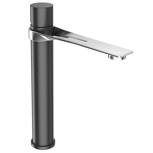 High single lever washbasin mixer stainless steel and black matt with up and down pop-up waste,<br>AN: NB830401441