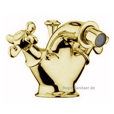 Nostalgic 2-handle bidet mixer gold 24 Karat with pop-up waste,<br>AN: OT710101010