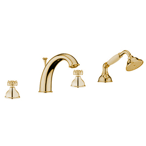 Nostalgic 4-holes deck mounted bath mixer gold 24 Karat,<br>AN: OT730101010