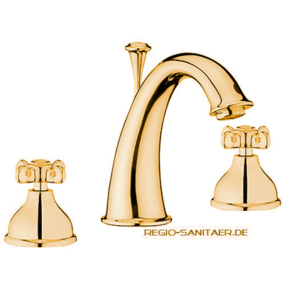 Nostalgic 2-handle 3-holes washbasin mixer gold 24 Karat with pop-up waste,<br>AN: OT750101010