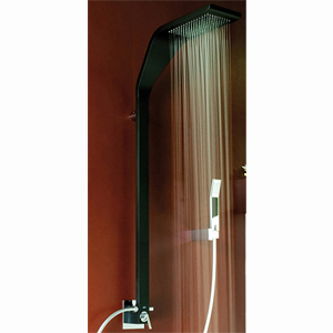Wellness single lever shower mixer matt black handle chrome with column, shower head and handshower,<br>AN: WO660302564